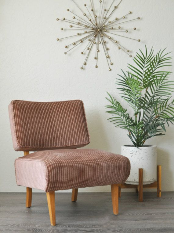 S A L E || Mid Century Pinstripe Velour Slipper Chair | Low Profile Side  Lounge Chair |