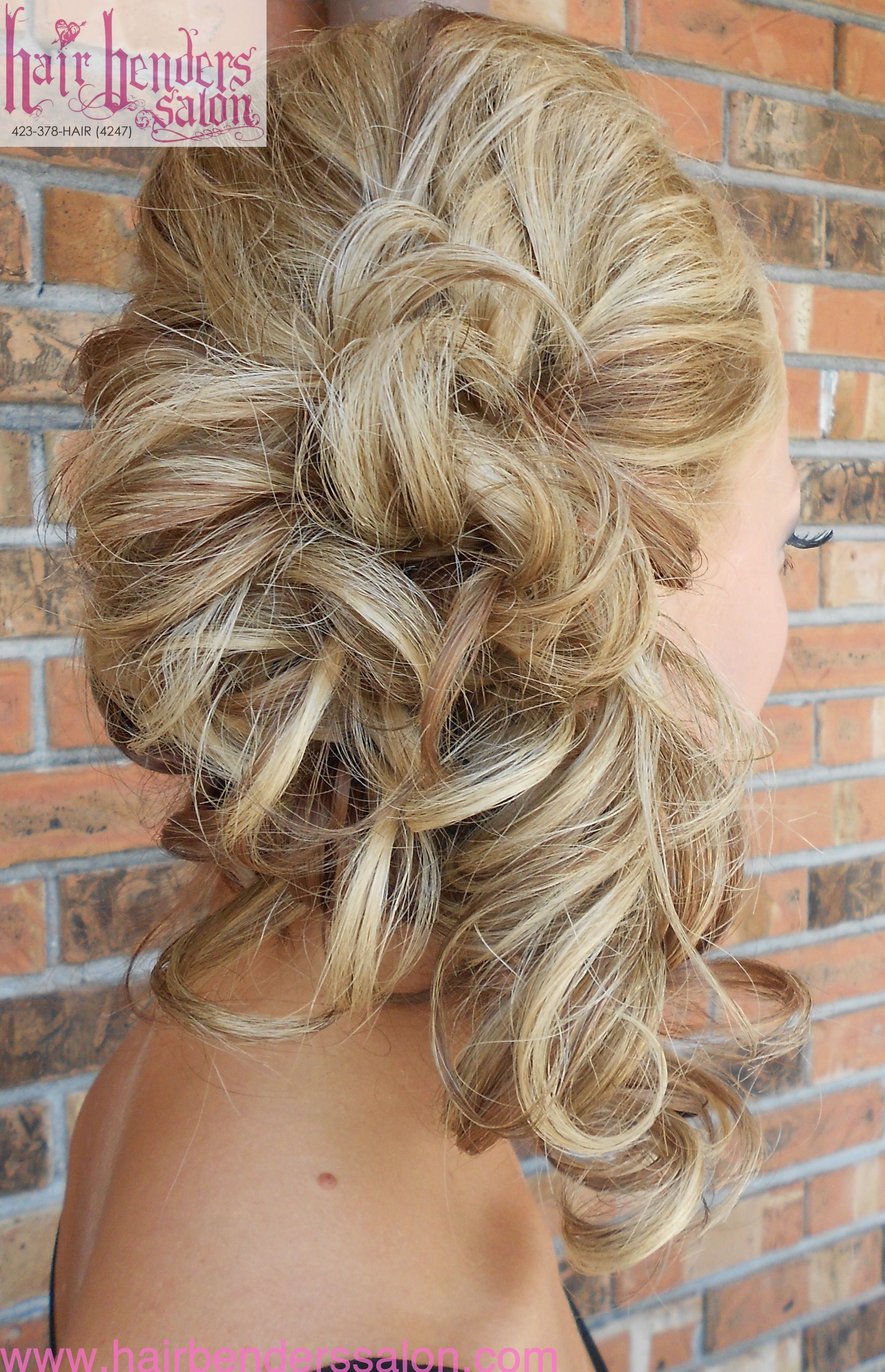 Curls Pinned To Side Side Ponytail