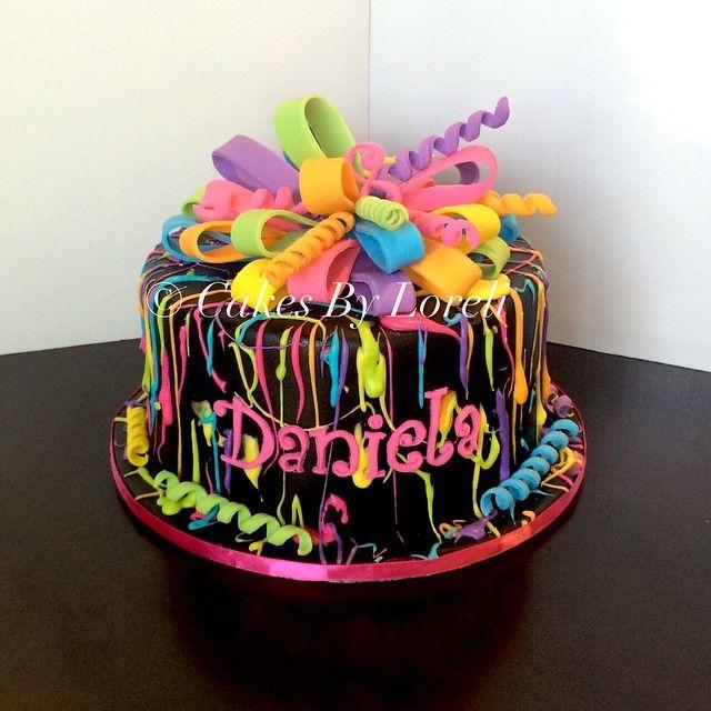 Strange Neon Birthday Cake Birthdaycake Birthday Fondant Fondantcake Birthday Cards Printable Riciscafe Filternl