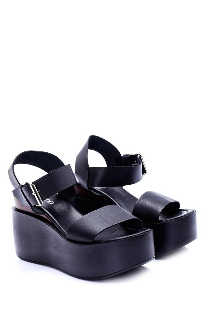 Siyah Kadin Dolgu Topuklu Sandalet 19sfd242118 Derimod Dolgu Topuklu Sandalet Topuklu Sandalet Sandalet