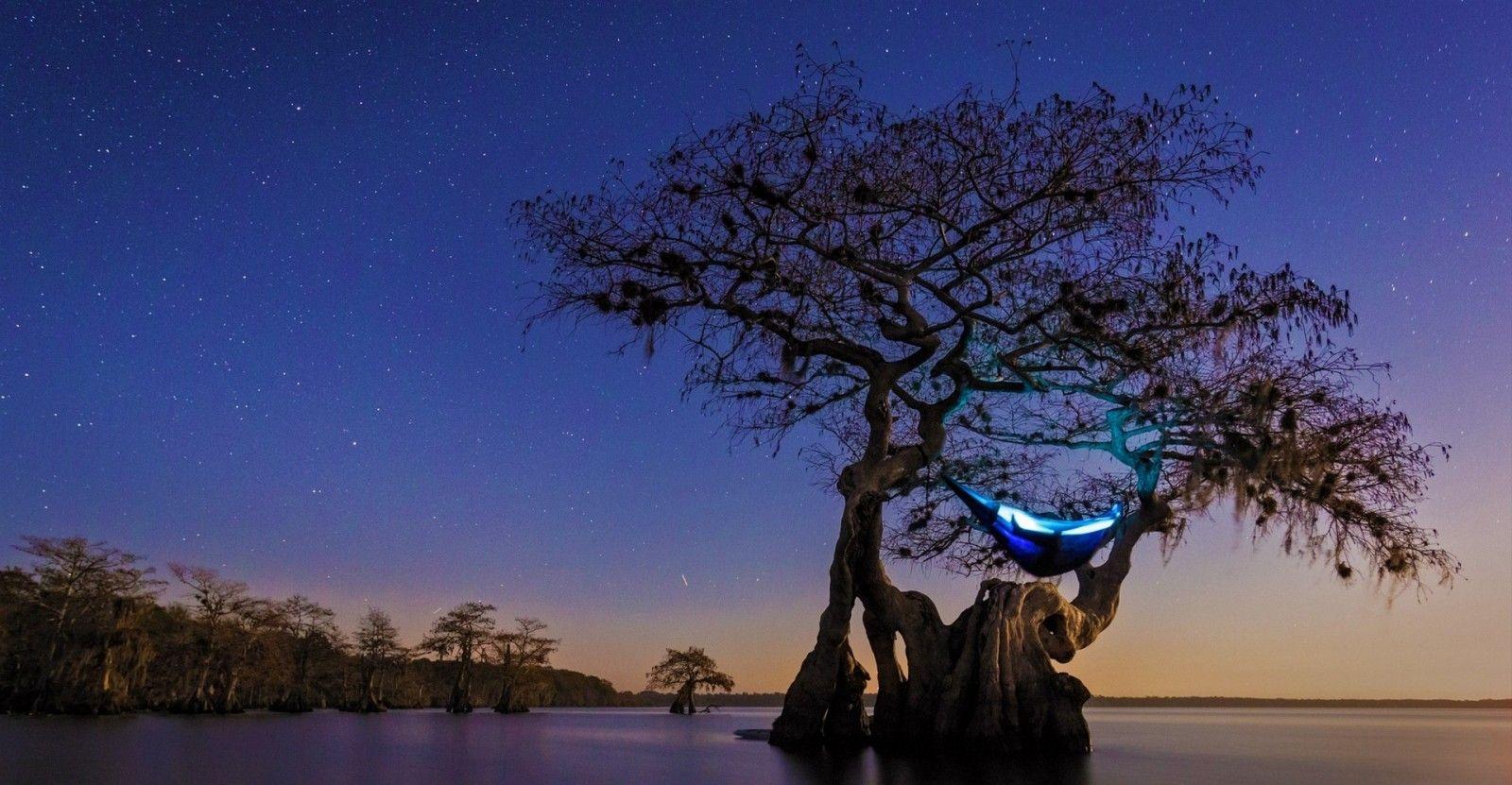 Árboles paisaje noche lago naturaleza reflexión cielo noche Mañana ...