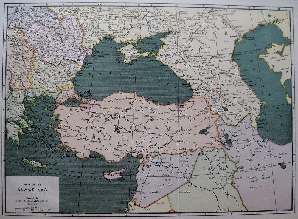 RARE 1940 BLACK SEA Map Turkey Map