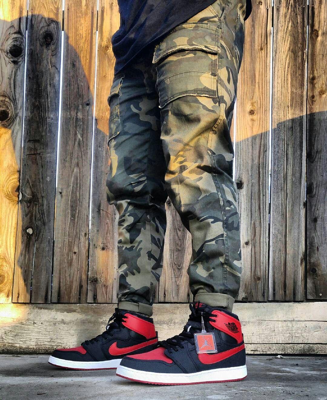 Jordan 1 Bred AJKO Men Camo Pants outfitgrid  9aaad518c
