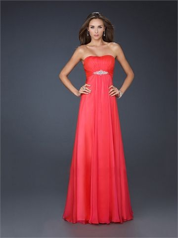 A-line Strapless Straight Neckline Beaded and Pleated Floor Length Chiffon Prom Dress PD1349 www.tidedresses.co.uk $175.0000