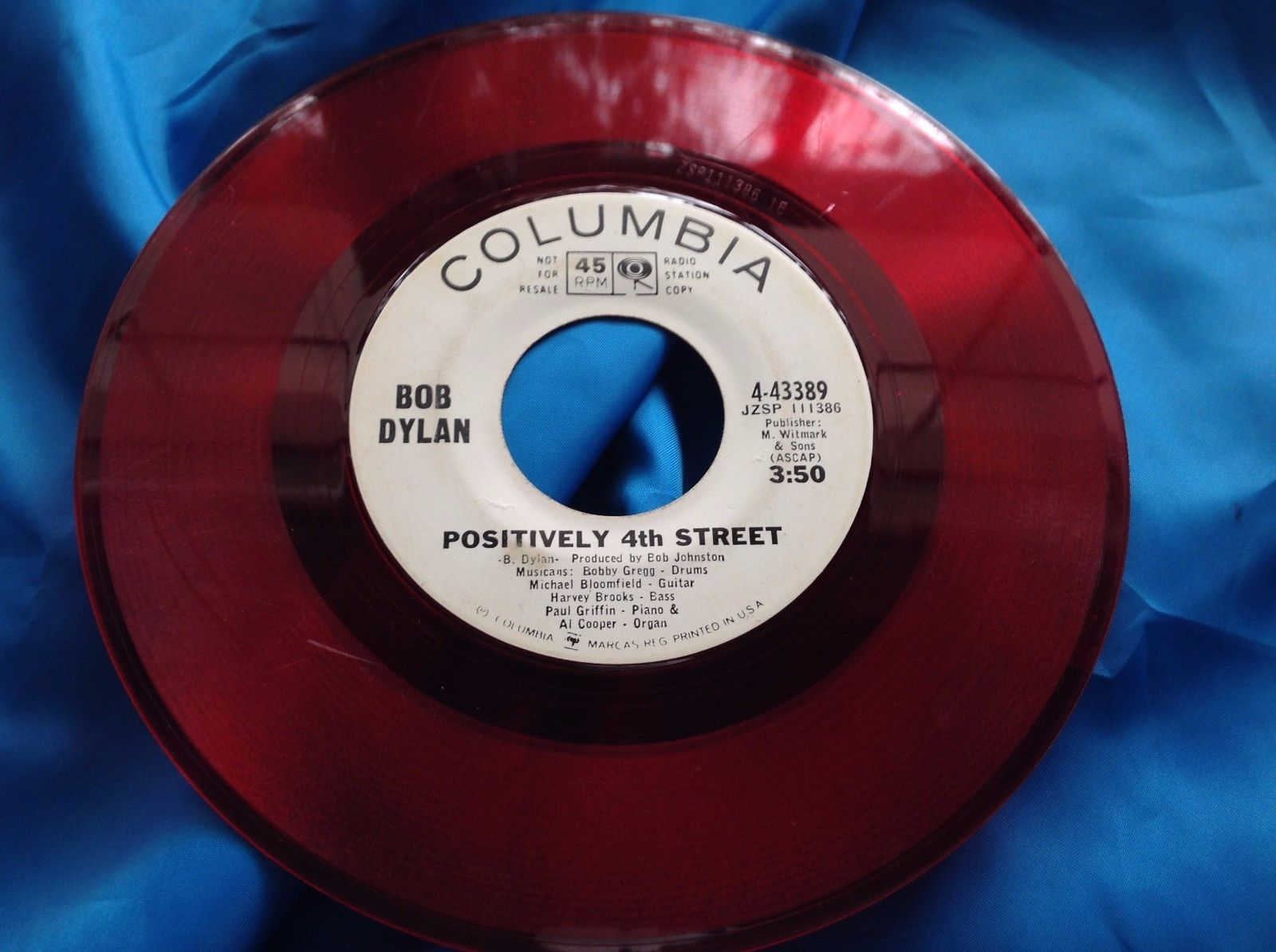 Rare Wlp Red Vinyl Promo 45 Bob Dylan Positively 4th Street Columbia 43389 Bob Dylan Dylan Vinyl