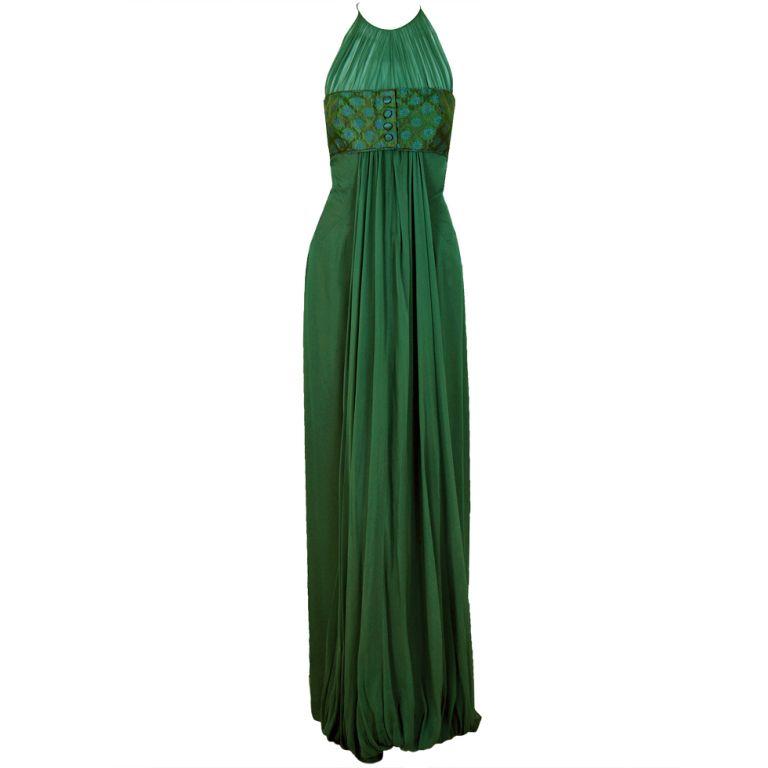 1960s Oleg Cassini Sage-Green Silk-Chiffon Draped Evening Gown