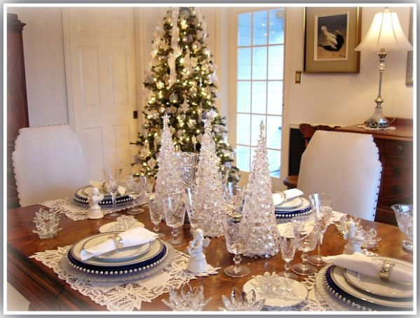 French Flair Blue White and Platinum Tablescape with Crystal Table Top Christmas Trees