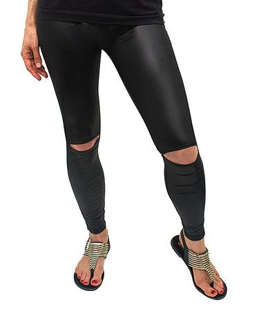 Look at this #zulilyfind! Black Faux Leather Distressed Leggings #zulilyfinds