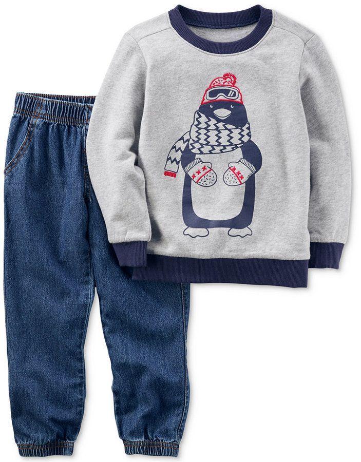 Carter/'s Toddler Boys 2 Pc Fleece Top /& Pants Set Gray//White//Black Size 3T