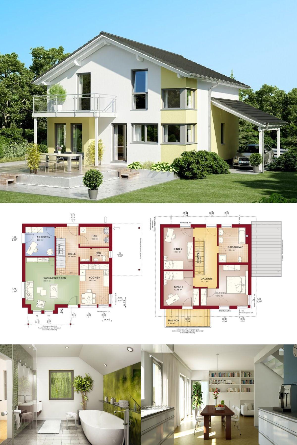 einfamilienhaus evolution 136 v4 bien zenker fertighaus bauen satteldach grundriss modern offene kche carport terrasse