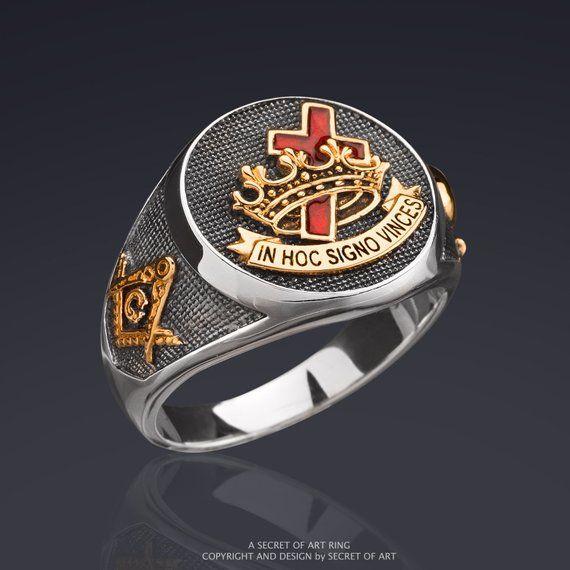 Men Masonic Ring Knights Templar Silver 24K Gold-Plated