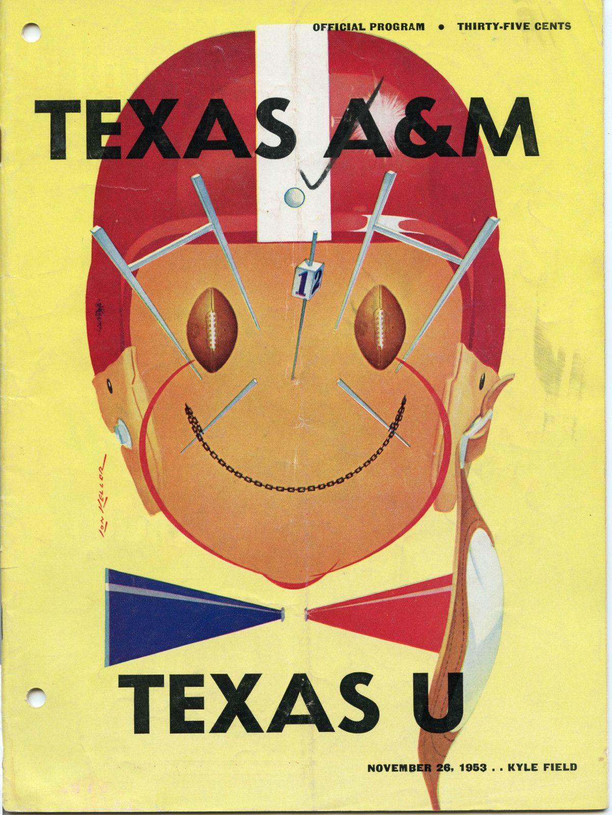 1953 Game Program between Texas A & M vs University of