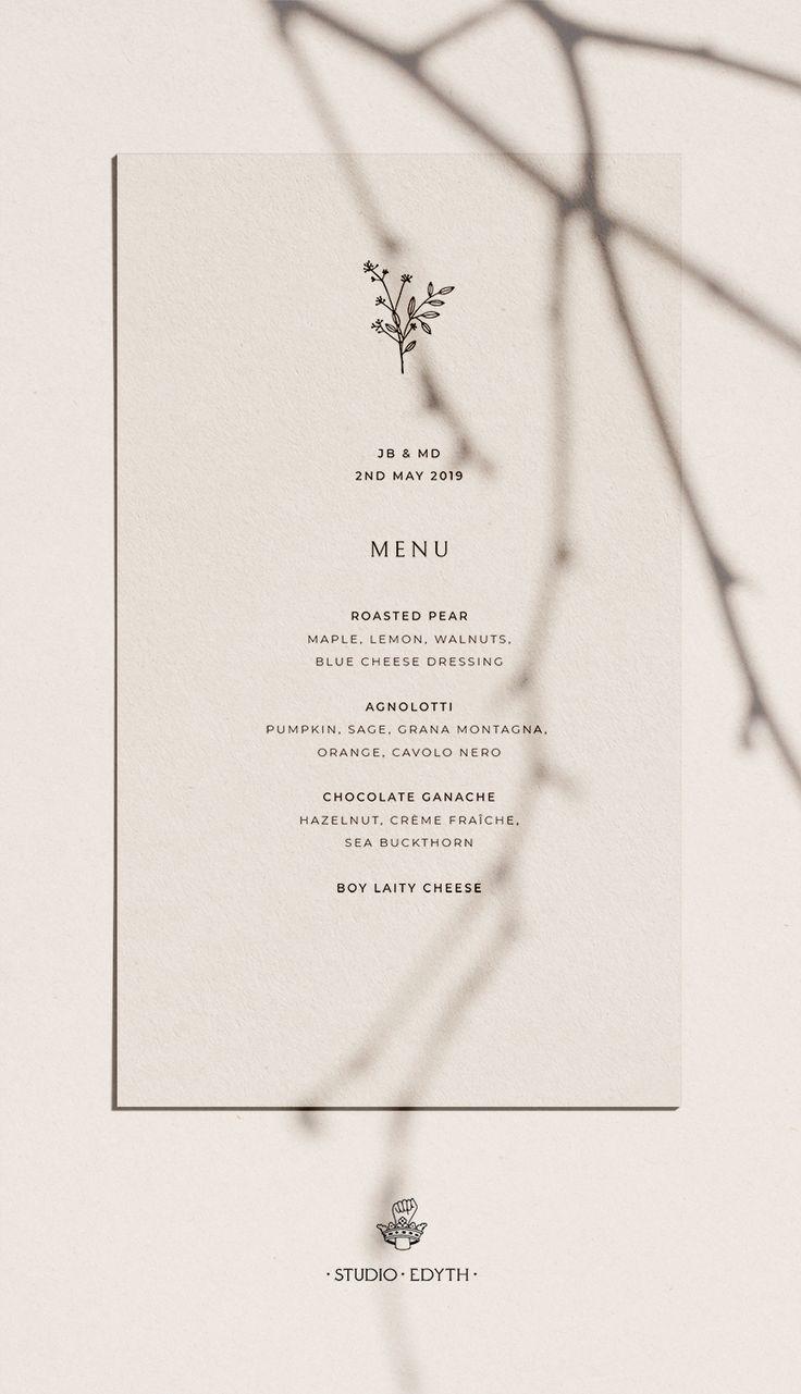 Minimal, feminine, simple wedding menu. | Ivory wedding menu | Wedding menu ideas | Pretty wedding menus | Wedding menu template #weddingmenutemplate