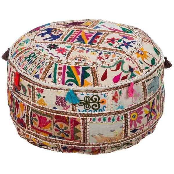 Surya Patchwork Round Pouf (£125) ❤ liked on Polyvore featuring home, furniture, ottomans, ottoman, poufs, chairs, patchwork ottoman, round ottoman, circular ottoman and round furniture