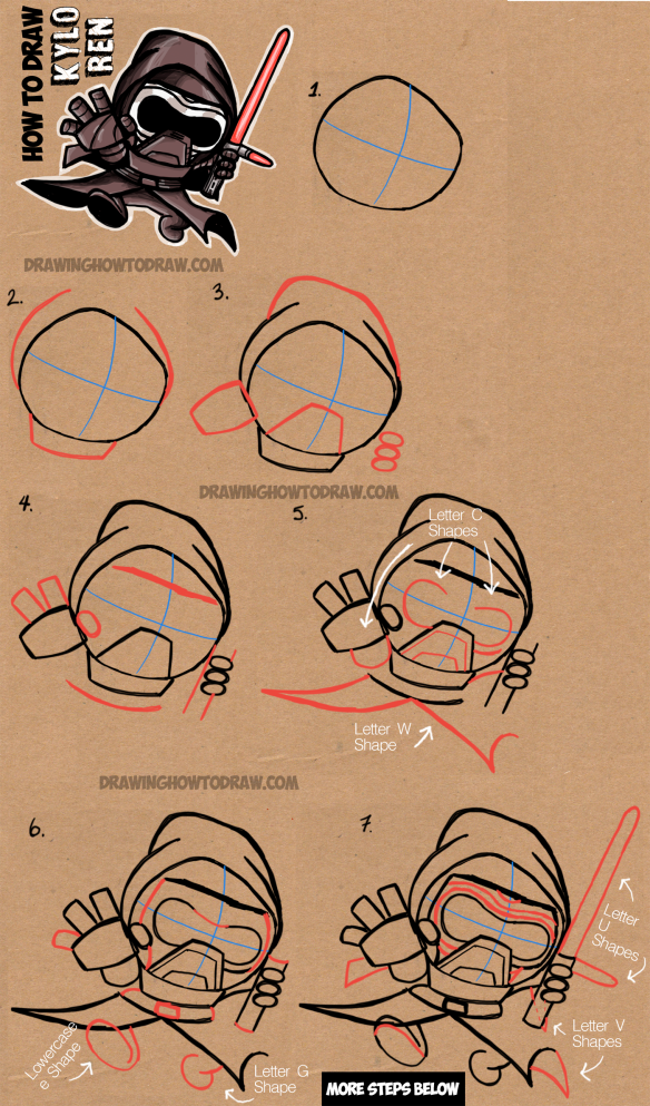 How to draw cute chibi cartoon kylo ren from star wars the - Dessin stars wars ...
