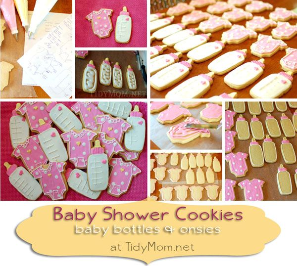 Baby shower cookies - baby bottle and onesie cut out cookies for #baby #girl