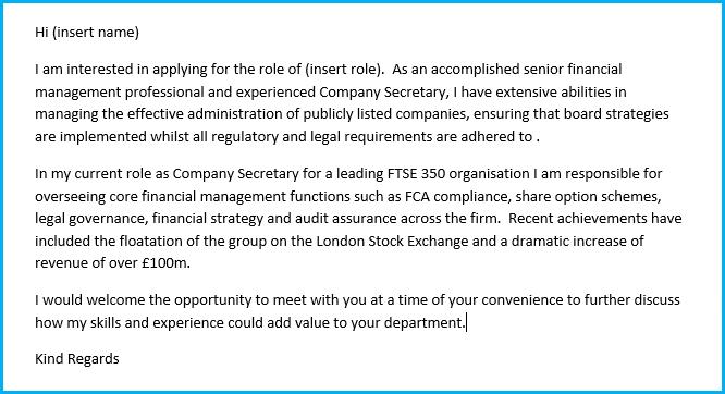 finance cv cover letter