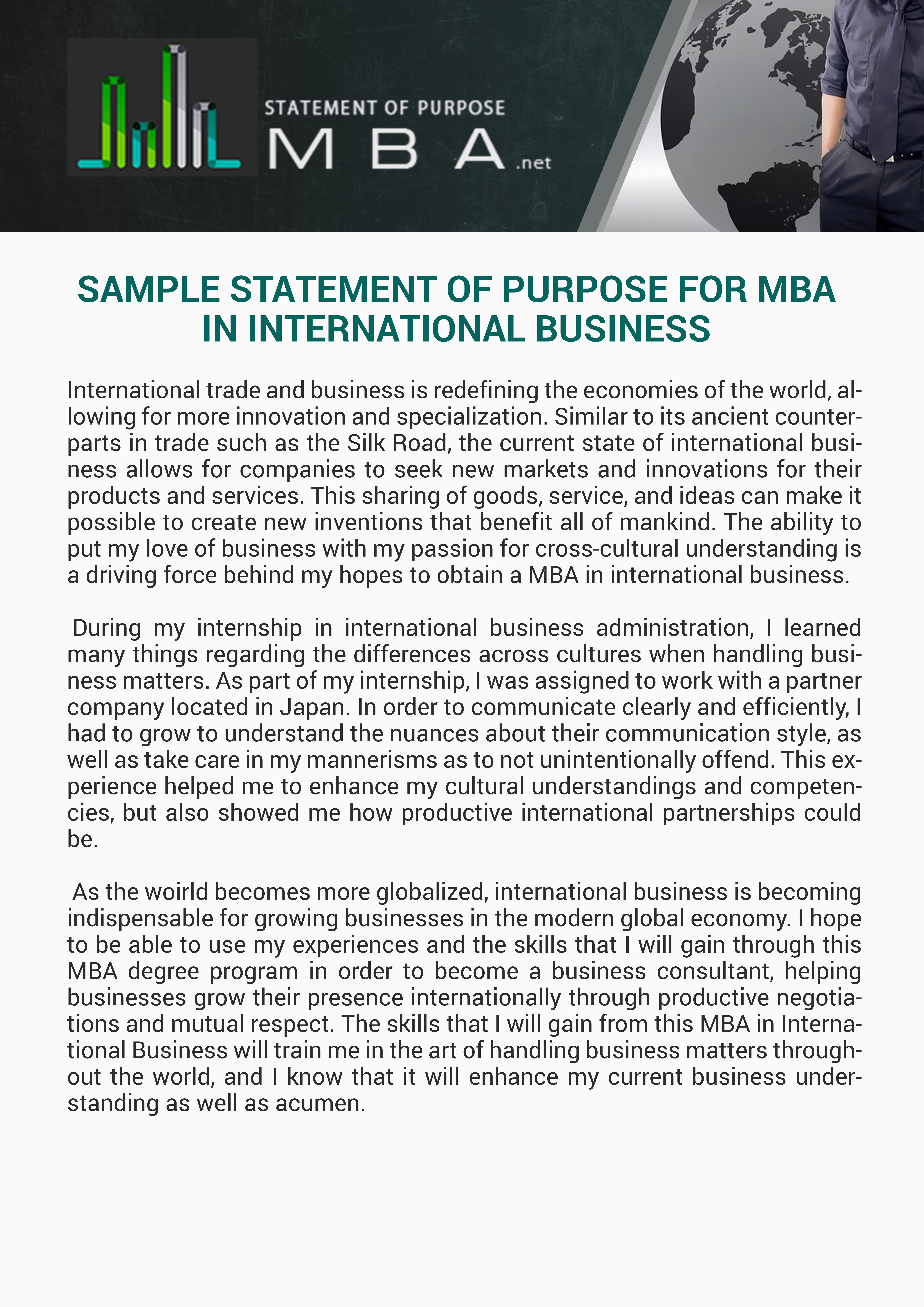 sample statement of purpose for mba in international