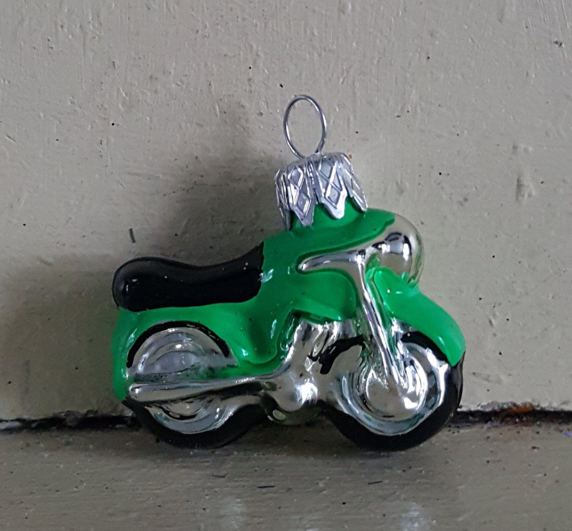 Blown Glass Mini Bright Green Motorbike Christmas Ornament 1 5 Made In Poland Glass Blowing Mini Ornaments Christmas Ornaments