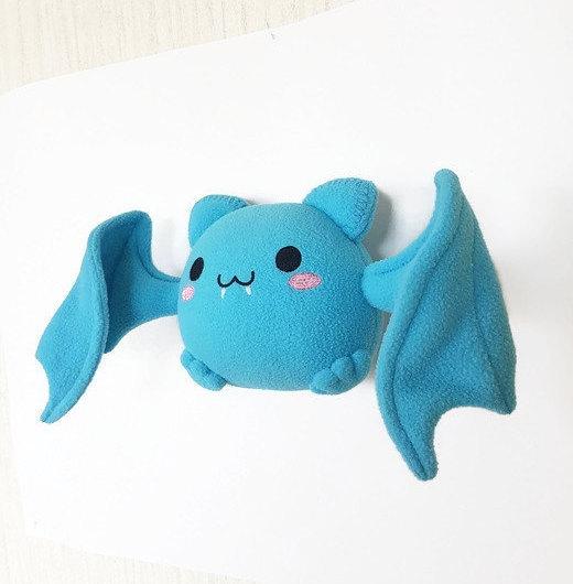 Chibi Bat Toy Blue Bat Chibi Toy Bat Plush Kawaii Chibi Stuffed
