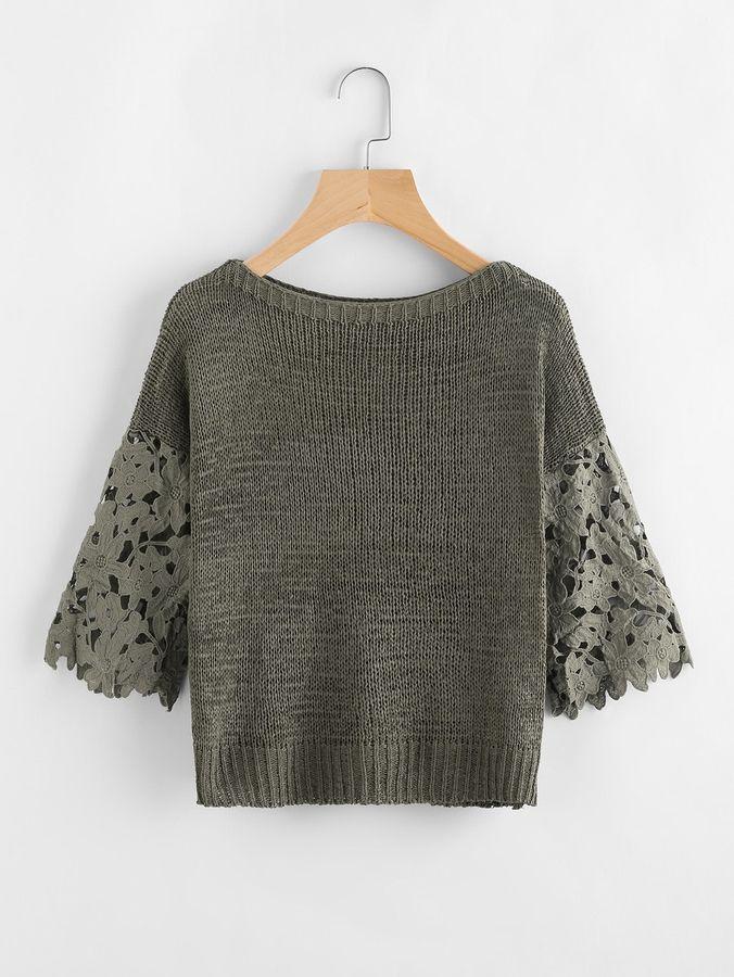 Shein Hollow Out Crochet Sleeve Insert Sweater #håndarbejde