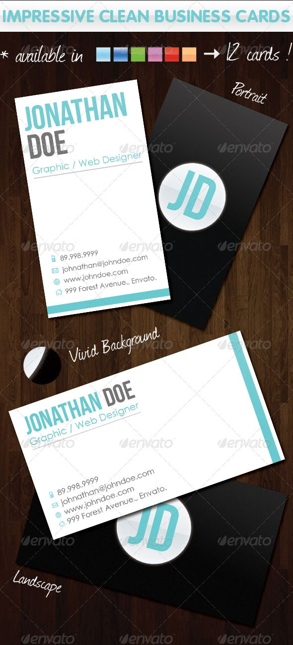 Impressive Clean Business Cards | Business cards, Business and ...