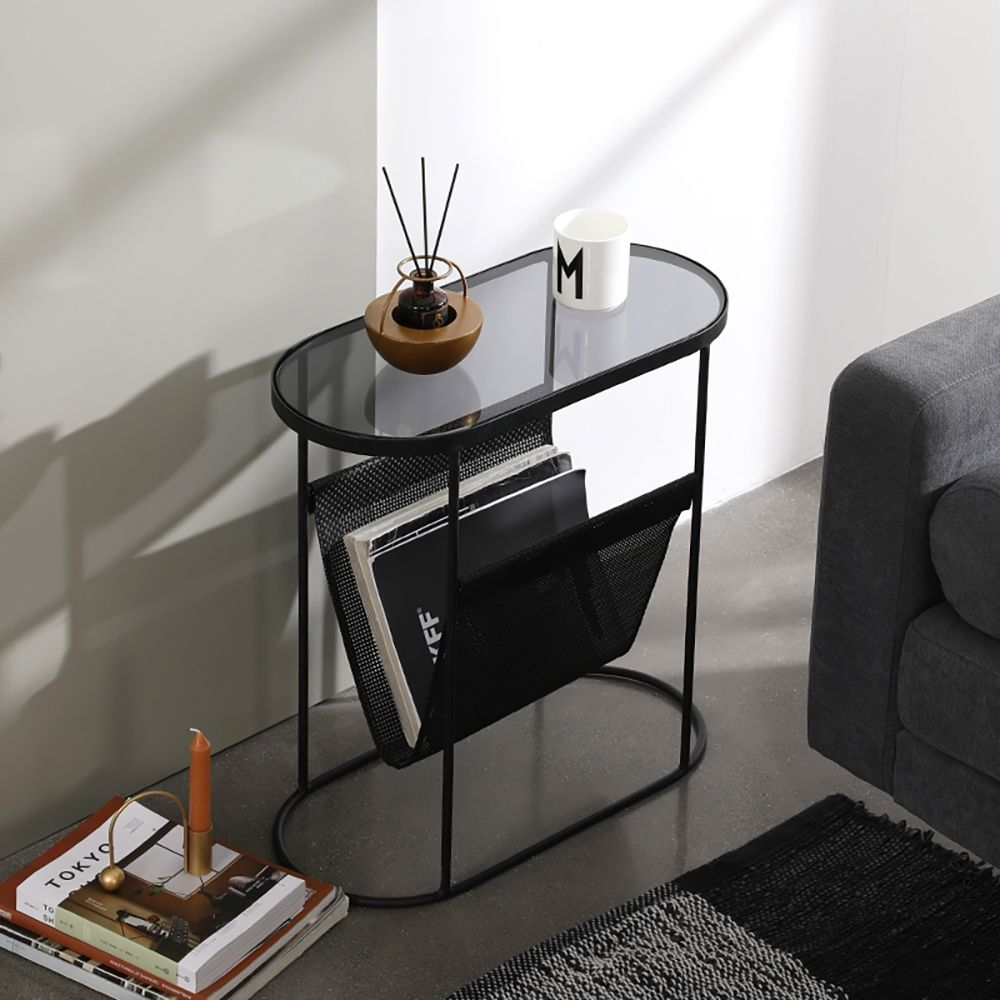 Modern Side Table Black End Table Metal Accent Oval Table Magazine Holder Sofa Table In 2021 Black Side Table Living Room Side Table Black End Tables