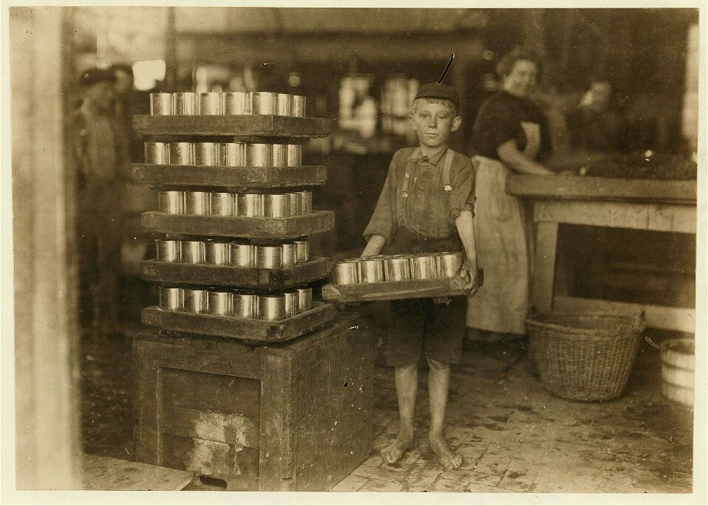 +~+~ Antique Photograph ~+~+  Farrand Packing Company in 1909.  A worker - a young boy with no shoes works full time. Photograph by Lewis Hine