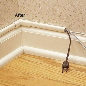 Great way to hide cords - Wiremold CordMate II Computer and Home  Entertainment Cord Cover Kit, White. Or anything similar - pipe cut in half  lengthwise, ...