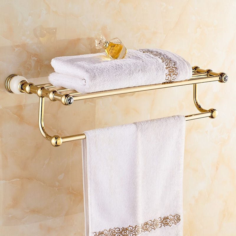 Jieshalang Gold Deluxe Towel Rack Copper European Towel Rack Suit Bathroom  Accessories Jade Towel Rack 7005