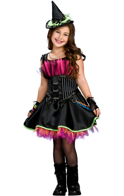 68342645e032 Super cute and punky witch outfit for kids includes dress and hat shaped  headpiece. https