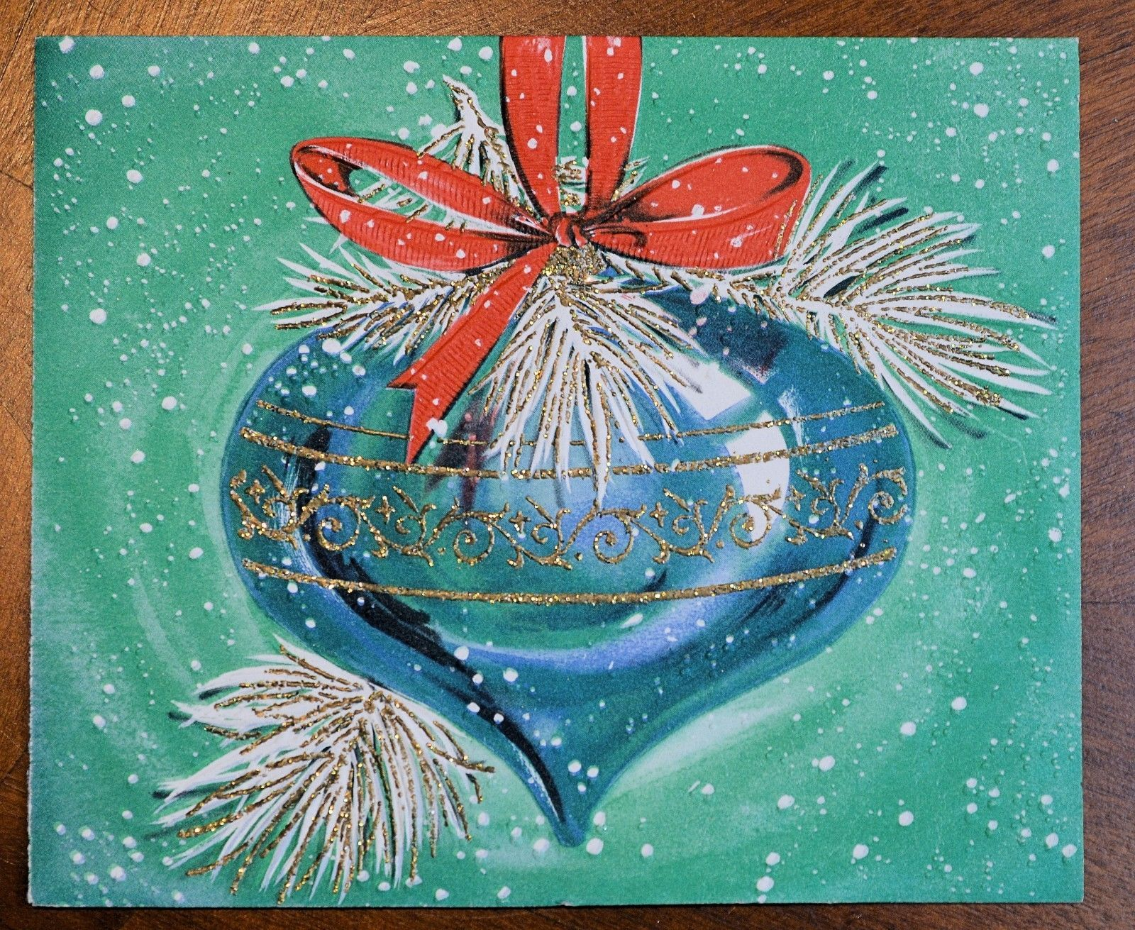 Vintage Unused Christmas Card Glitter Embossed Blue Teardrop Ornament Midcentury