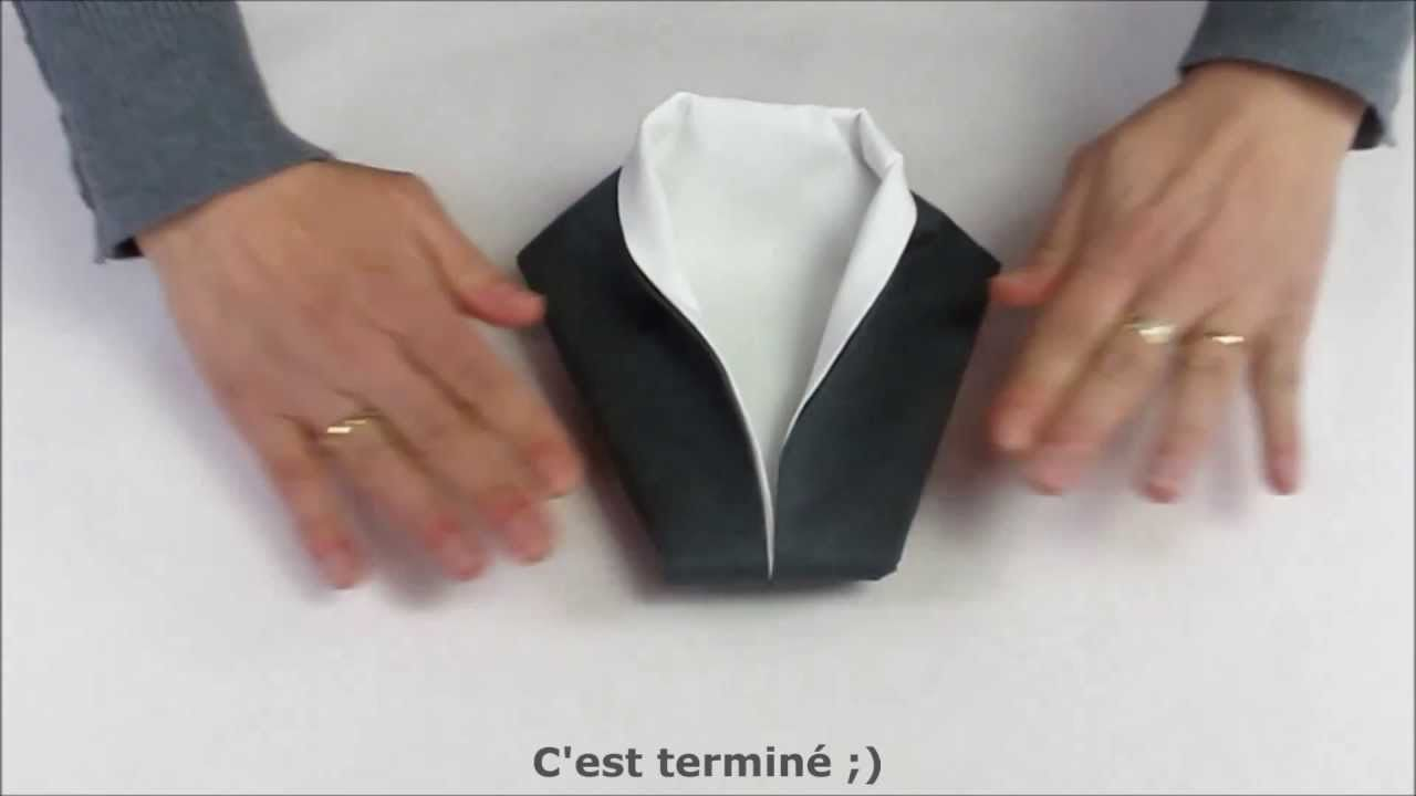 Smoking pliage de serviette pinterest smoking napkins and origami - Pliage serviette chemise ...