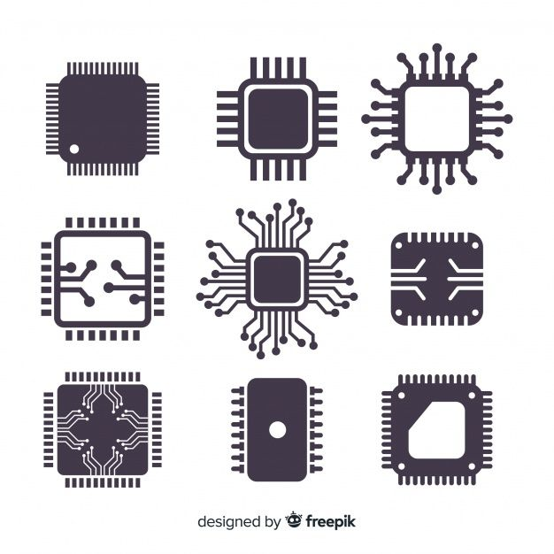 Download Modern Cpu Collection With Flat Design For Free In 2020 Electronics Vector Flat Design Electronics Logo