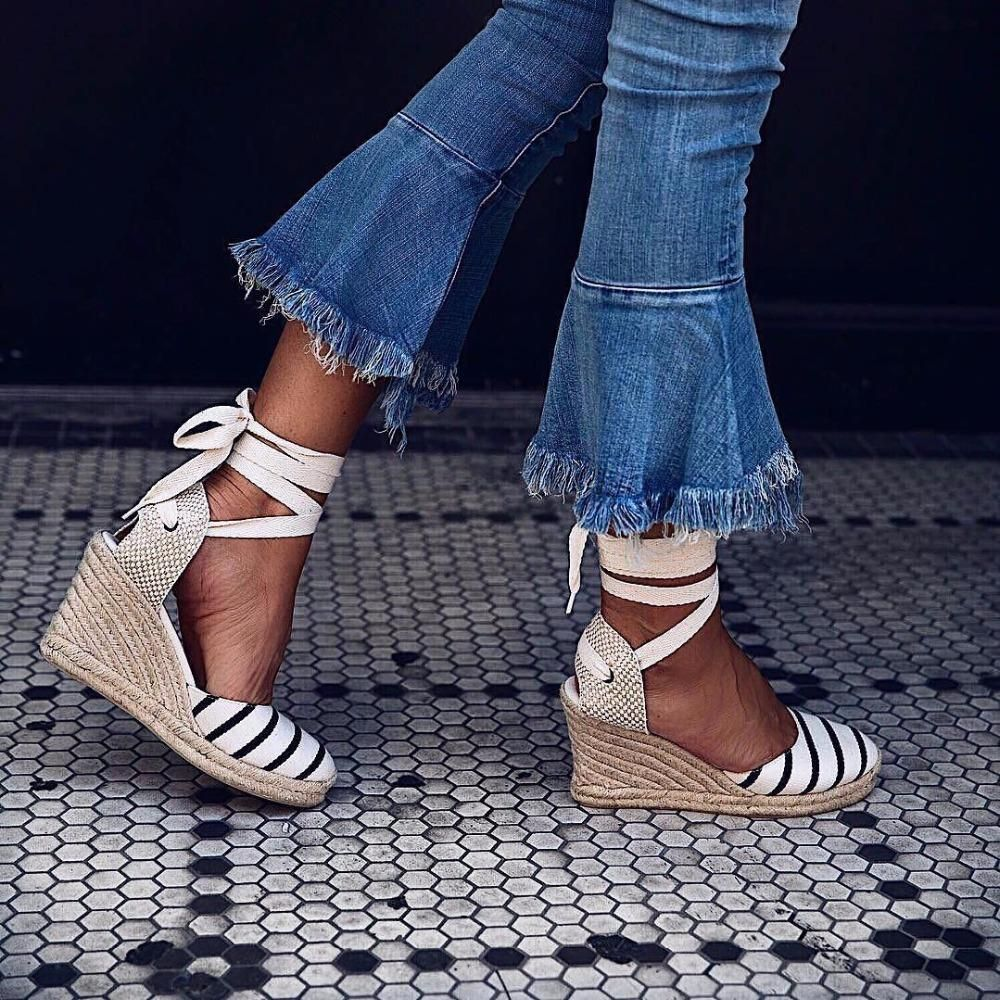1a97213e37cb Canvas Lace Up Gladiator Platform Wedge Sandals – LePastell  summer   summerstyle  summerfashion