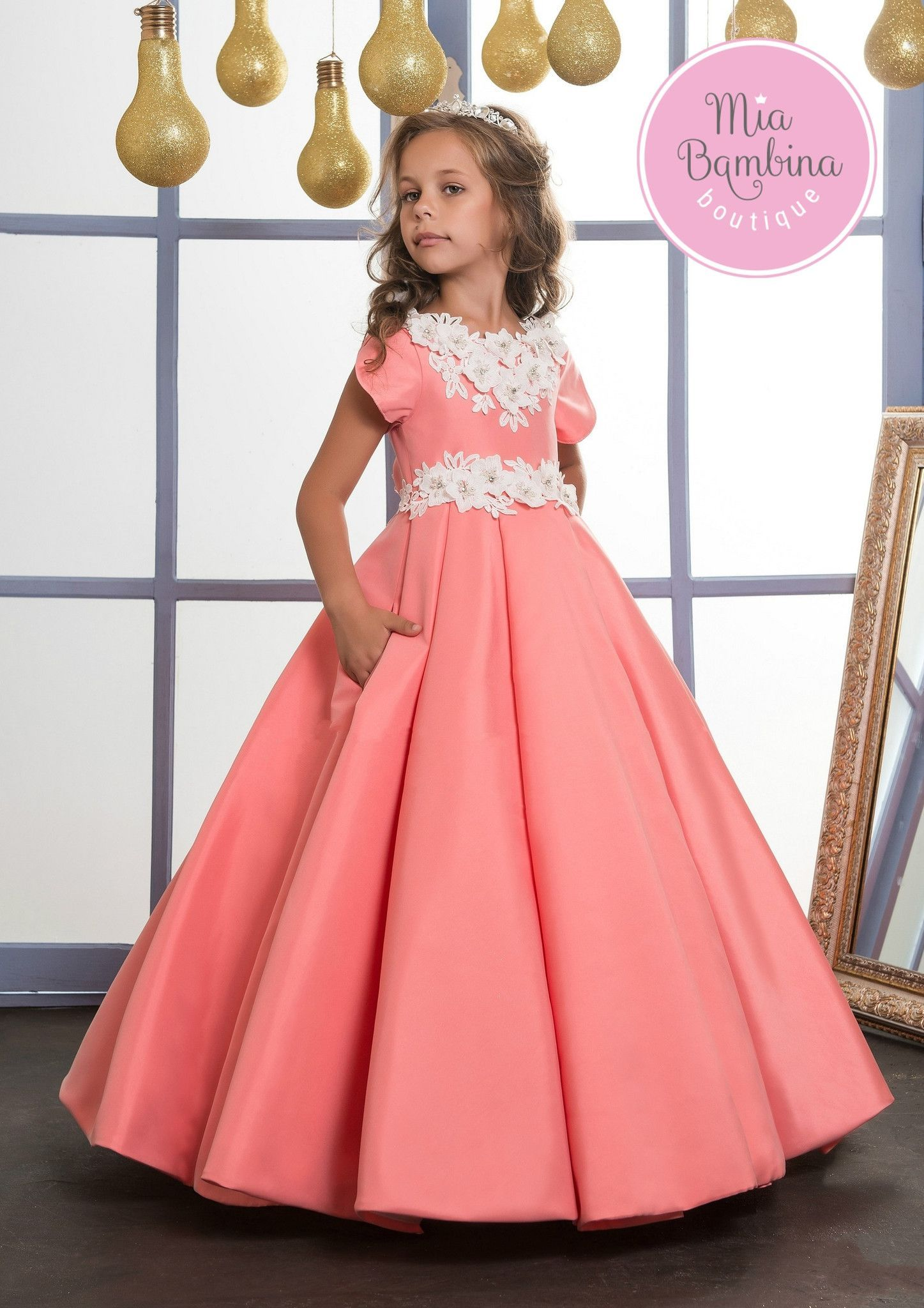 2714fdade ... party dresses. What could be more refreshing for spring than this  bright, solid colour flower girl dress with short sleeves and an elegant  pleated skirt ...