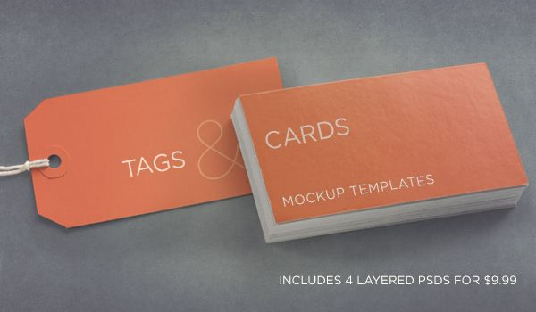 Photoshop Tags And Cards Mockup Templates Pack Includes A