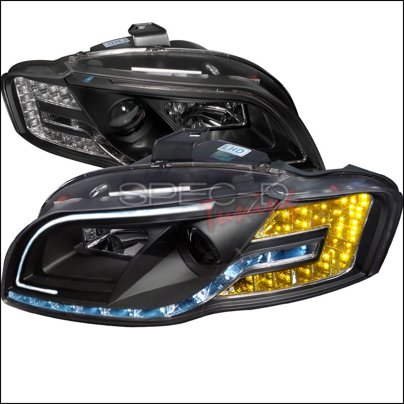 Audi A4 2005-2008 Black Projector Headlights By Spec-D
