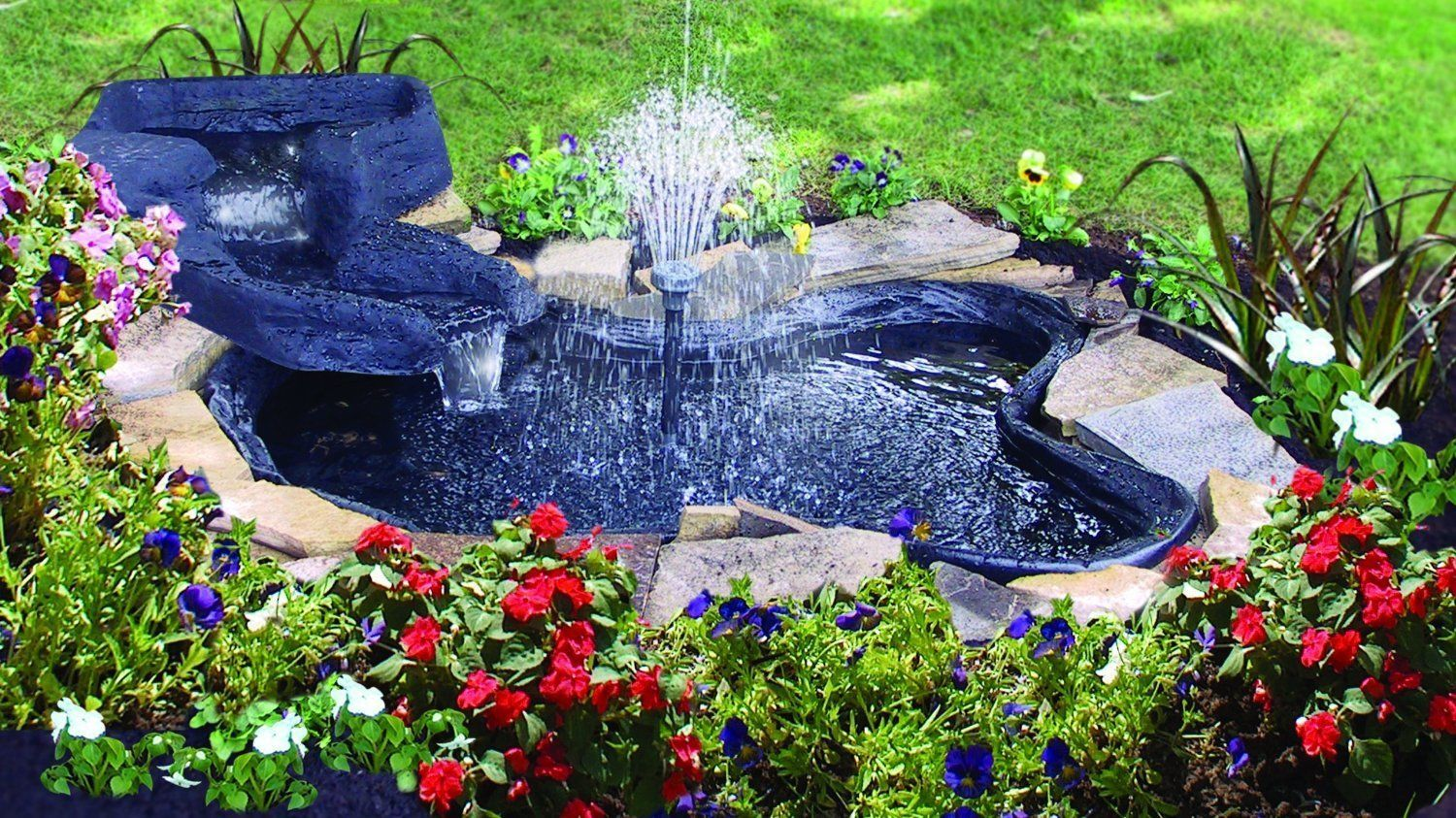 Water Garden Pond Kit 105 Gallons Back Yard Pond Pump with Fountain Heads | eBay