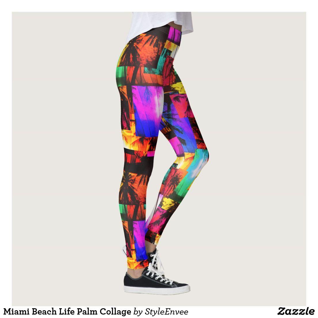 2c84e19f72af0 Miami Beach Life Palm Collage Leggings | Zazzle.com in 2019 ...