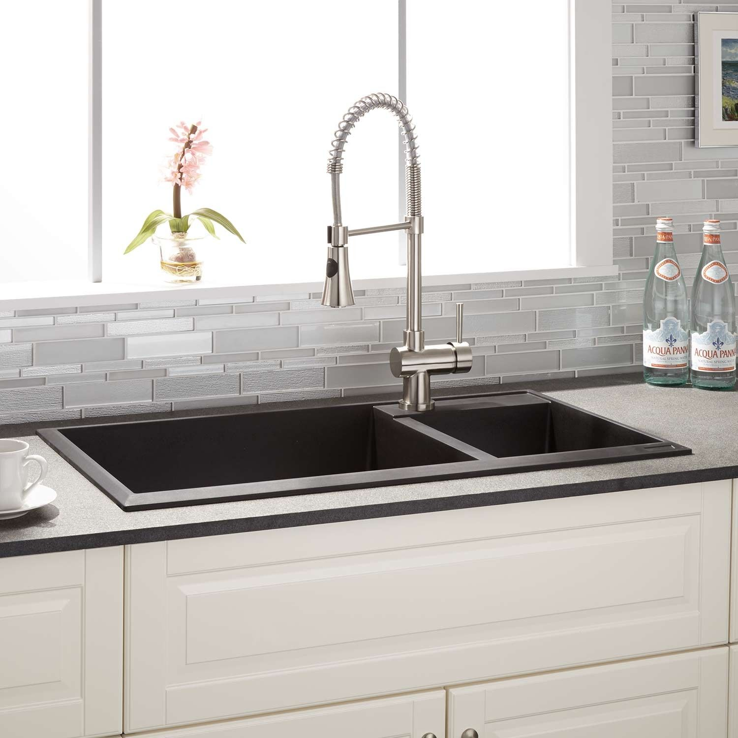 34 Arvel 70 30 Offset Double Bowl Drop In Granite Composite Sink