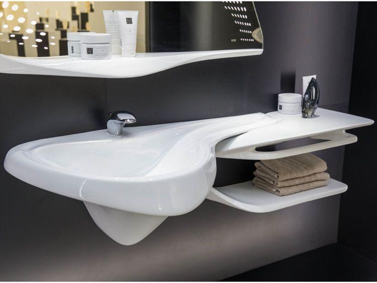 meubles salle de bain design en blanc brillant et miroir original parement - Meuble De Salle De Bain Original