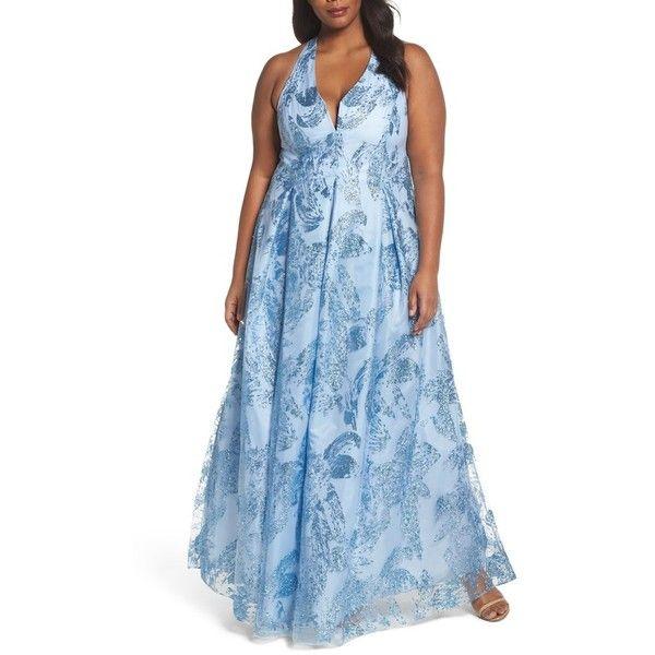 Plus Size Womens Marina Glitter Halter Neck Ball Gown 175