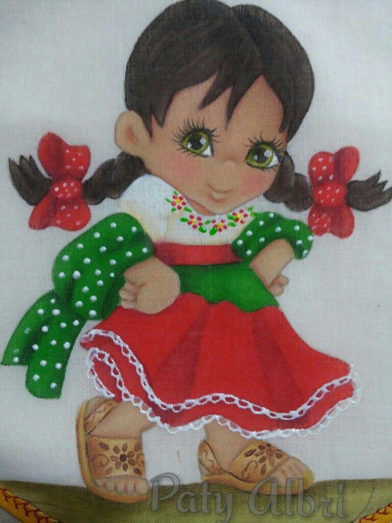 Pintura textil ni a mexicana paty albri mis trabajos de - Dibujos para pintar en tela infantiles ...