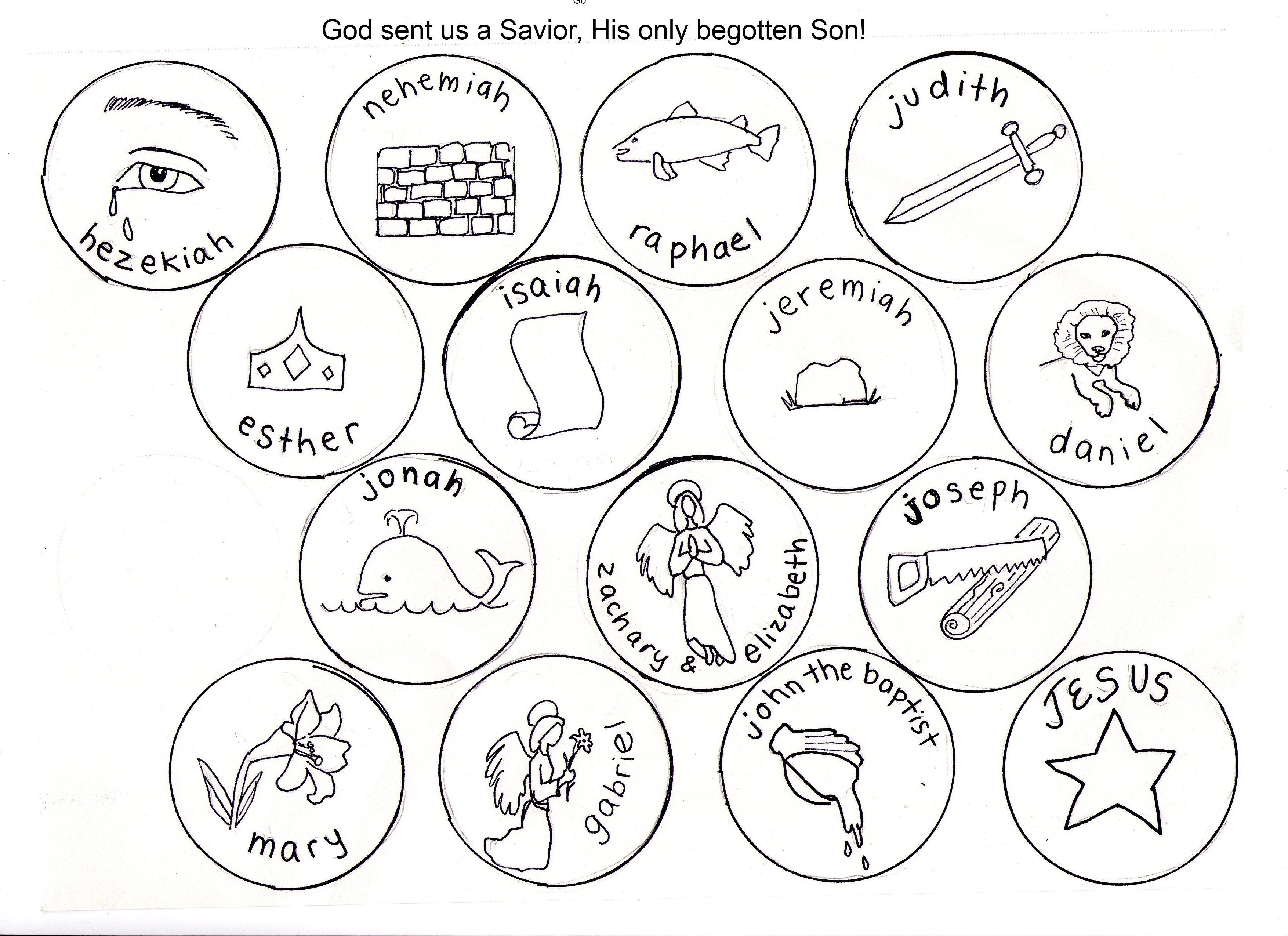 Jesse Tree Symbols Coloring Pages