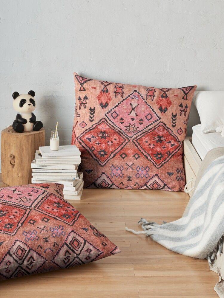 Boho Farmhouse Stylish Oriental Traditional Moroccan Style Artwork Floor Pillow