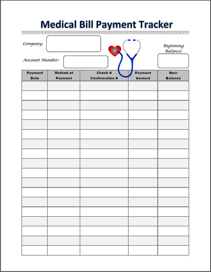 medical bill payment tracker … | Pinteres…