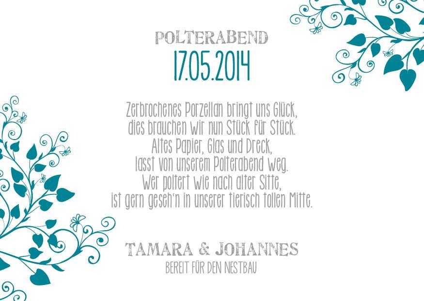 E B071 Einlagekarte Polterabend Lovebirds2 Jpg Jpeg Grafik 875 621 Pixel Polterabend Polterabend Einladung Hochzeitseinladung
