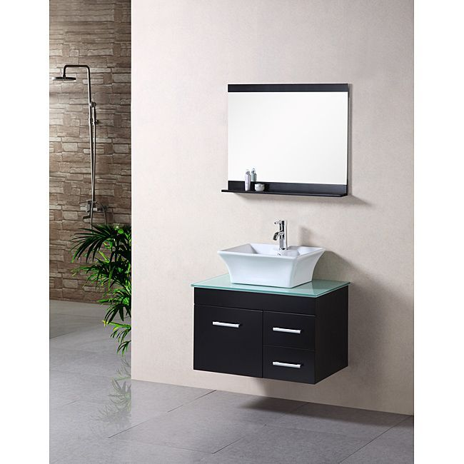 Design Element Madrid 30 In D Vanity Espresso With Gl Top And Mirror The Home Depot