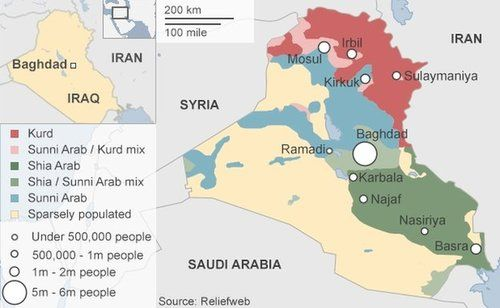 Ethnic and sectarian divisions in Iraq. | Iraq today, Map, Syria